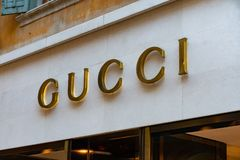 Gucci store. Verona, Italy - September 5, 2018: Gucci boutique. Gucci is an Italian luxury brand of fashion and leather goods, part of the Gucci Group, which is royalty free stock photo