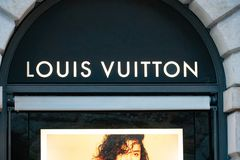 Louis Vuitton store in Verona, Italy. Verona, Italy - September 5, 2018: Louis Vuitton store. Shortened to LV, Louis Vuitton Malletier is a French luxury brand Stock Photo