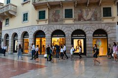 Louis Vuitton store in Verona, Italy. Verona, Italy - September 5, 2018: Louis Vuitton store. Shortened to LV, Louis Vuitton Malletier is a French luxury brand Royalty Free Stock Images