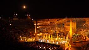 VERONA, ITALY - SEPTEMBER 2, 2012: Performers, singer on stage AIDA Verdi at Arena royalty free stock photos