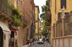 Old town street of Verona Italy royalty free stock photo
