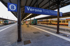 VERONA, ITALY- September 10, 2016: Trains `TrenItalia` of Regionale type and Regionale Veloce type on the station in Verona `Vero Stock Photo