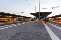 VERONA, ITALY- September 10, 2016: Trains `TrenItalia` of Regionale type and Regionale Veloce type on the station in Verona `Vero Royalty Free Stock Photo