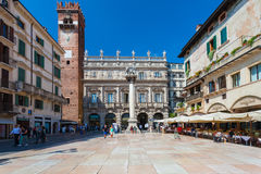 Verona, Italy - September 8, 2016: View on Piazza delle Erbe is a square in Verona, northern Italy. Stock Image