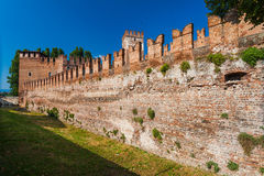 VERONA, ITALY- September 08, 2016: Walls of Castelvecchio fortress in Verona. The medieval Castelvecchio  Old Castle was built b Royalty Free Stock Photo