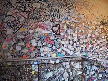 Verona, Italy. Set of small papers with messages of love close to Romeo and Juliet`s house stock photography