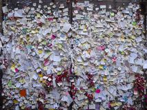 Verona, Italy. Set of small papers with messages of love close to Romeo and Juliet`s house stock images