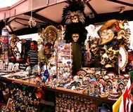 Verona Italy/21st June 2012/Verona Italy/21st June 2012/A stall. In the public market with a vast array of cheap tacky souveniers in Verona Italy royalty free stock image