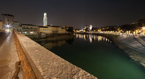 Verona , Italy , stone bridge , the old castle , Panoramic view Royalty Free Stock Images