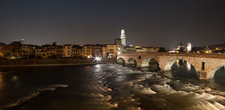 Verona , Italy , stone bridge , the old castle , Panoramic view Stock Photography