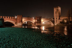 Verona , Italy , stone bridge , the old castle , Panoramic view stock images