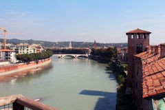 Verona, Italy, view of the city from Castelvecchio Museum. Stock Photo