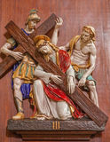 Verona - Jesus fall under corss. One part of ceramic coss way from st. Nicholas church (Chiesa di San Nicolo) Royalty Free Stock Photos