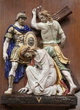 Verona - Jesus fall under cross. One part of ceramic coss way from st. Nicholas church Royalty Free Stock Image