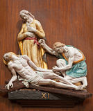 Verona - Jesus fall under cross. One part of ceramic coss way from st. Nicholas church (Chiesa di San Nicolo) Royalty Free Stock Image