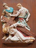 Verona - Jesus is nailed to the cross. One part of ceramic coss way from st. Nicholas church (Chiesa di San Nicolo) Royalty Free Stock Photography