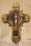Verona - Jesus for Pilate. Cross as part of cross-way in basilica San Zeno Stock Photos