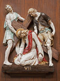 Verona - Jesus under corss. One part of ceramic coss way from st. Nicholas church Royalty Free Stock Images