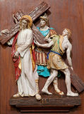 Verona - Jesus under corss. One part of ceramic coss way from st. Nicholas church Stock Image