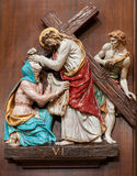 Verona - Jesus and Veronica on the cross way. One part of ceramic cross way from st. Nicholas church Stock Image