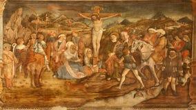 Verona - Kruisiging in de kerk van Anastasia van de kerkKerstman Stock Afbeelding