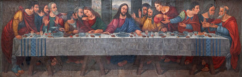 Verona - Last supper of Christ in Santa Maria della Scala Royalty Free Stock Image
