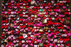 Verona - Lover locks and master key locks closed up at Casa di Giulietta in front of Juliet`s Balcony. People believes this woul. D help blessing in their love Royalty Free Stock Photos
