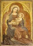 Verona - Madonna fresco from 12. - 15. cent. by anonym author in Basilica di San Zeno Royalty Free Stock Photos