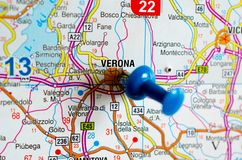 Verona on map. Close up shot of Verona on map with blue push pin Stock Photo