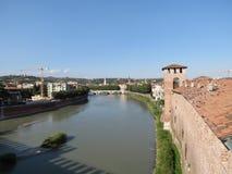 Verona - medeltida slott Arkivfoton