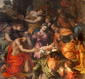 Verona - Nativity by Alessandro Turchi from year 1608 in church San Fermo Maggiore Royalty Free Stock Photos
