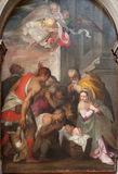 Verona - Nativity scene by Bernardinus Indisur from year 1567 in San Bernardino church Stock Photo