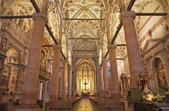 Verona - Nave of gothic-romanesque church Santa Anastasia Stock Images