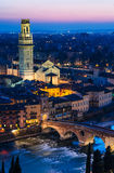 Verona night view with Ponte Pietra and Duomo Royalty Free Stock Images