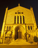 Verona - Nightly portal of San Fermo Maggiore church Stock Photography