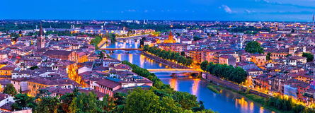 Verona old city and Adige river panoramic aerial view at evening Royalty Free Stock Image