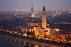 Verona - Outlook from Castel san Pietro in winter evening Royalty Free Stock Image