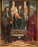 Verona - Paint of Madonna, st. George and Jerome by Francesco Bonsignori from year 1488  in San Bernardino church Stock Images
