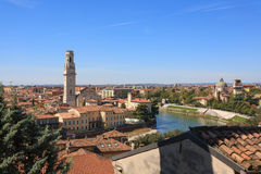 Verona panorama Italy. A view of Verona and Adige river from top of a hill, Italy Stock Photo