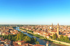 Verona pejzaż miejski w ranku czasie Obrazy Stock