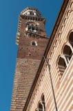 Verona Italy Torre dei Lamberti. Verona, Piazza dei Signori, also known as Piazza Dante, is a square located in the historic center of Verona, adjacent to Piazza Stock Images
