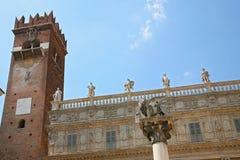 Verona piazza delle Erbe the lion of saint Mark Stock Image