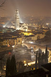 Verona -  Pietra bridge and Duomo at night Royalty Free Stock Photo