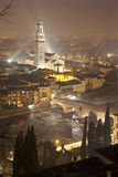 Verona -  Pietra bridge and Duomo at night from Castel san Pietro Royalty Free Stock Photo