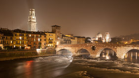 Verona - Pietra bridge at night Royalty Free Stock Image
