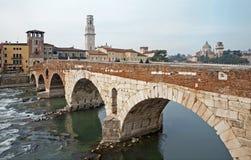 Verona - Pietra bridge  - Ponte Pietra and Duomo tower Stock Image
