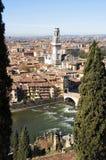 Verona - Ponte Pietra (Italië) Stock Foto's