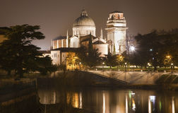 Verona - San Giorgio church and Adige river from Ponte Pietra Stock Photography
