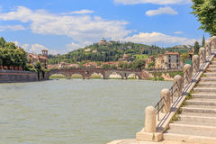 Verona with Santuario Madonna Di Lourdes. View over the Etsch river to the monastery Santuario Madonna Di Lourdes Royalty Free Stock Image