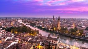 Verona Skyline flyg- sikt fotografering för bildbyråer
